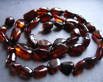 Smooth Baltic Amber Nuggets - 15 inches - 12mm X 8mm - beads - genuine