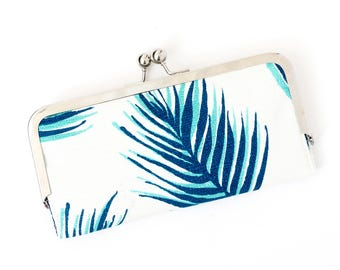 Palm Leaf Cell Phone Wallet Clutch with Kisslock Frame Closure in Turquoise and Navy Palm Leaf Print Cotton
