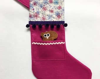 Squirrel Stocking, Christmas Stocking, Pocket Stocking, Squirrel - Silent Night snowflakes, Magenta Stocking