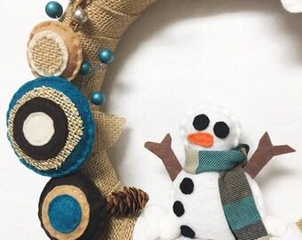 Wreath, Christmas Wreath, Door hanger, Teal and Burlap, Snow, Snowman, Winter Wreath, Housewarming, Gifts under 50