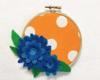 Flower Wall Art, Embroidery Hoop Art, Blue and Orange,Floral Wall Decor, Hoop Wall Hanging, Felt Flower Hoop, Wedding Decor