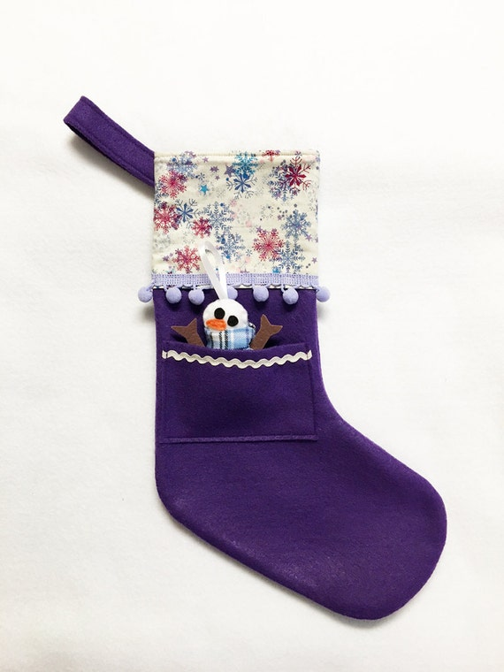 Felt Stocking, Christmas Stocking, Pocket Stocking, Snowman - Silent Night snowflakes, Purple Stocking
