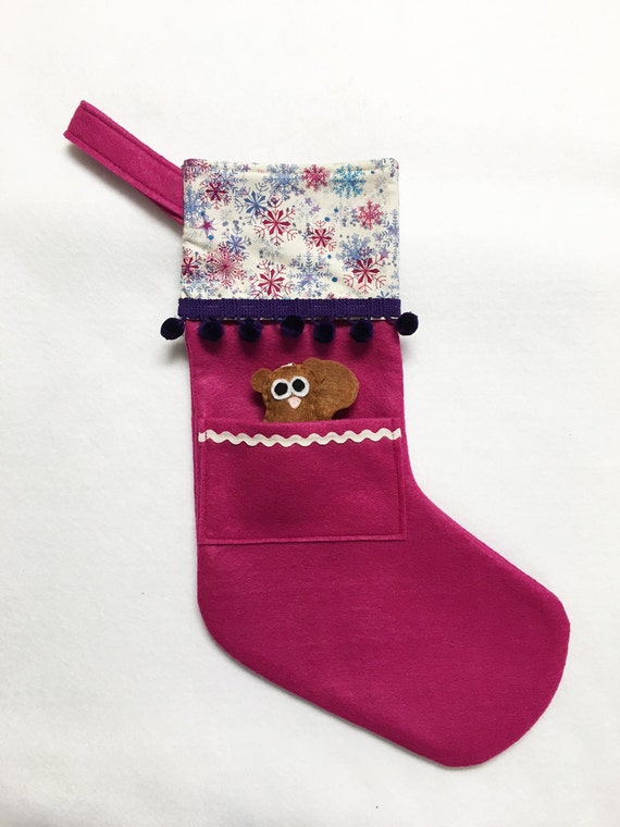 Felt Stocking, Christmas Stocking, Pocket Stocking, Squirrel - Silent Night snowflakes, Magenta Stocking