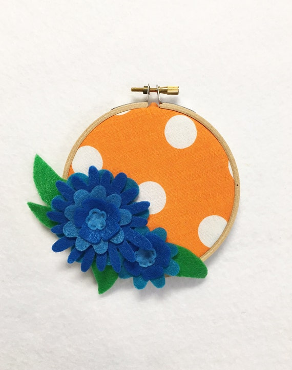 Flower Wall Art, Embroidery Hoop Art, Blue and Orange,Floral Wall Decor, Hoop Wall Hanging, Felt Flower Hoop, Wedding Decor