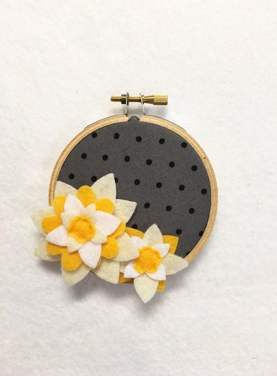 Flower Wall Art, Embroidery Hoop Art, Delicate Bloom, Floral Wall Decor, Hoop Wall Hanging, Felt Flower Hoop, Wedding Decor