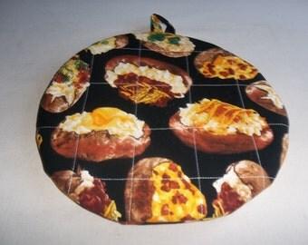 Baked Potato, Quilted Pot Holders, Potholders, Trivet Round, Kitchen Decor, Cooking Utensil, Novelty Cotton Print, Gift for Mom