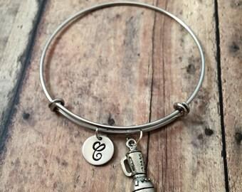 Blender initial bangle - gift for bartender, drink jewelry, bartender bracelet, blender jewelry, smoothie jewelry, silver blender bracelet