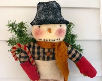 Primitive Snowman in grain sack stocking