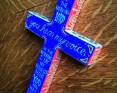 You Hear My Voice - Hand-painted Wood Cross
