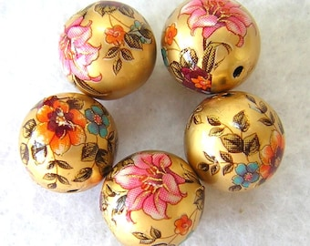 Beautiful Japanese Tensha Beads  LILY BOUQUET Matte GOLD 12mm 5 pieces