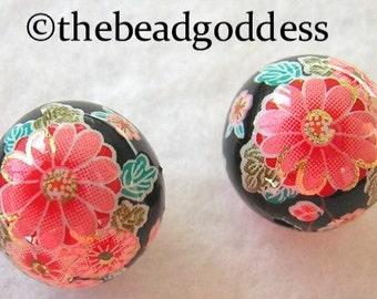 Pair Beautiful Japanese Tensha Beads CHERRY BLOSSOMS on BLACK 12mm
