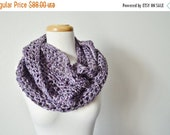 Sale The Yoop Circle Scarf - Infinity Scarf / Cowl in Chunky Crochet - Moody Orchid Purple - Plum, Gunmetal Grey, Lilac Spring Line Crochet