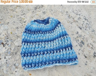 Sale Hand Knit Hat - Navigator Hat - The Blue Stripey. Lightweight Handknit Hat in Durable Yarn. Men's Handknit Beanie. Fall and Winter Gear