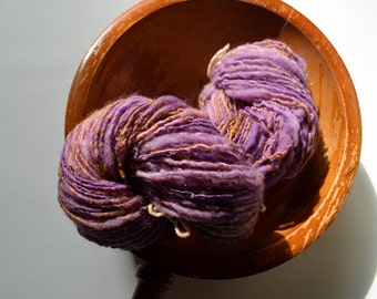 Pretty Pony Princess Handspun Yarn in Warm Violet Purple Superwash Merino Wool & Gold Bamboo - Thick and Thin, About 138 Yards, Soft Woolen