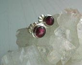 Pink Tourmaline Earrings, Sterling Silver Studs, Post Earrings, Natural Gemstone Jewelry
