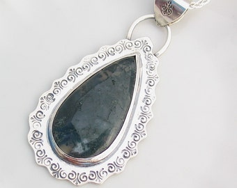 Moss Agate Teardrop Pendant, Sterling Silver, Stamped, Green, Natural Stone Jewelry