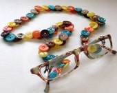 Eyeglass Chain in Vintage Buttons Turquoise and Tangerine