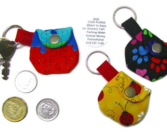 3 MINI COIN PURSES! Set!  Keyring purse, Pills, Coffee money, Party favours, School money, Parking meters, Subway tokens, Promotional etc.
