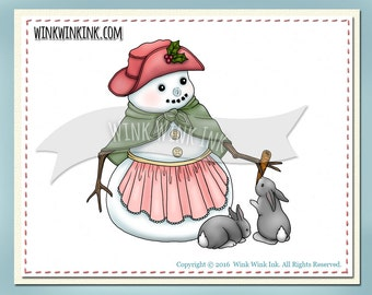 Digital Stamp - Bunny Blessing - Snowman and rabbit friends
