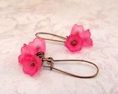 Pink earrings - Pink flower earrings - gift spring wedding jewelry