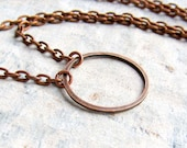 copper Circle necklace simple necklace copper jewelry gift under 15 dollars