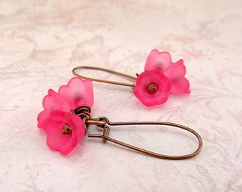 Pink earrings - Pink flower earrings - gift spring wedding jewelry