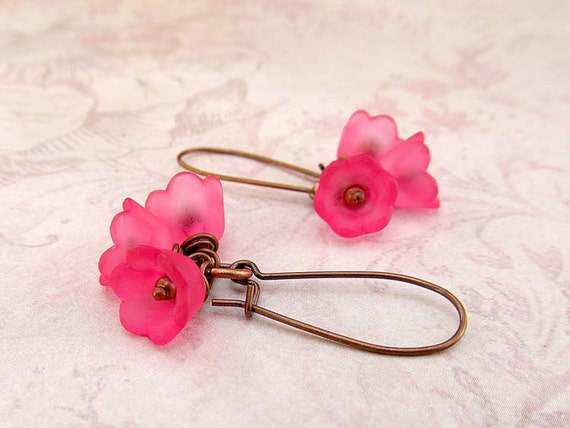 Bubblegum pink flower earrings bridesmaid spring wedding jewelry