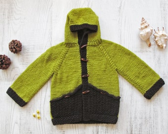 Hand Knitted Hoodie Cardigan