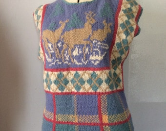 1980's Skyr Sportswear Vest  Sleeveless Sweater Adorable Deer and Pastel Plaid