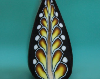 Golden Honey Polymer Clay Feathered Leaf Cane -'Midnight in Paradise' (47dd)