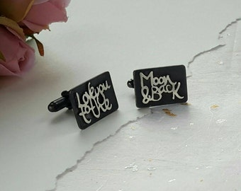 Love you to the Moon & Back handwritten personalised wedding Cufflinks
