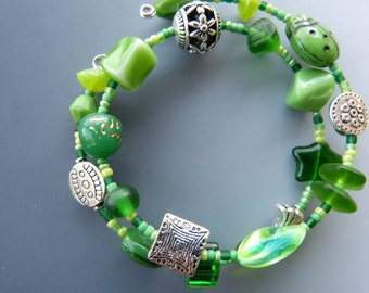 Memory Wire Bracelet in Kelly Green and LIme