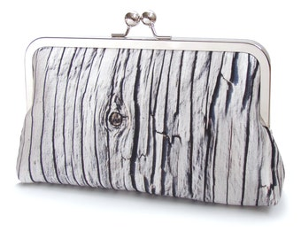 Driftwood clutch bag, wood stripe, printed silk purse, black and white, handbag, wedding clutch, barn wood, ON SALE