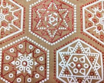 Christmas Snowflakes Hexagons - fat quarter