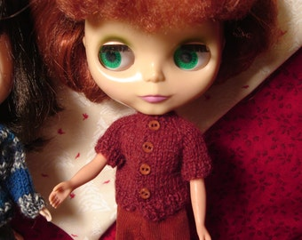 Blythe Rust Mohair Sweater for Pullip and Vintage Skipper Too