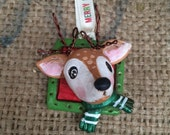 Small deer folk art Christmas ornament Ready to ship in red and green
