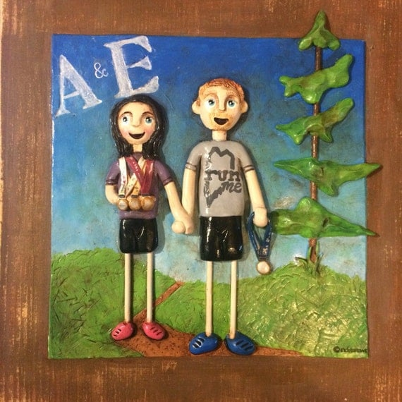 Custom Couple Portraits 9x9 personalized clay sculptures on a wooden board based on your photos