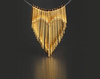 Gold Fringe Necklace with Kinetic Heart Inlay in 14K Gold Plated