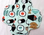 Menstrual Flannel Maxi Pads - 9.5 inch Reusable Eco Friendly Cotton Mama Cloths - Pale Green with Kawaii Sushi Rolls Japanese