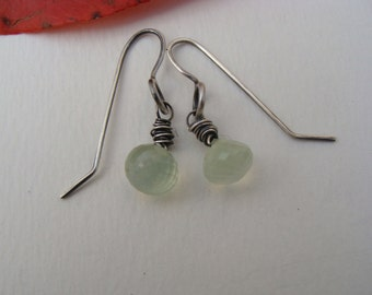 Wire Wrapped Prehnite Onion Gemstone Oxidized Silver Earrings