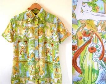 SUMMER SALE / 20% off Vintage 70s Cismonda Novelty Print Short Sleeved Button Down Collared Shirt (size medium, large)