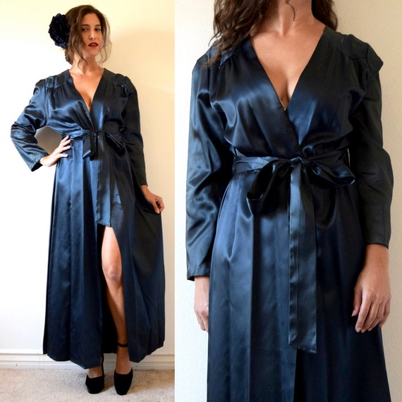 Vintage 30s Midnight Starlet Inky Black Satin Peignoir Dressing Robe