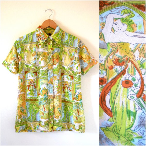 SPRING SALE/ 20% off Vintage 70s Cismonda Novelty Print Short Sleeved Button Down Collared Shirt (size medium, large)