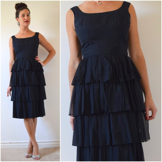 SUMMER SALE / 20% off Vintage 60s Black Chiffon Tiered Scoop Back Cocktail Dress (size small, medium)