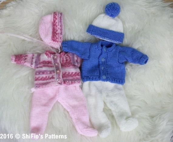 """10"""" to 12"""" Doll Knitting Pattern Cardigan, Leggings Hat Knitting Pattern 149 DIGITAL DOWNLOAD PDF"""
