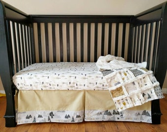 Mountain Woodland Crib Set for Baby Boy  - Mountain Nursery Bedding - Mountain Baby Bedding Bumperless Bedding - Crib Sheet - Crib Skirt