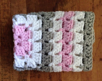 Baby Blanket, Chunky Hand Crochet, Stroller Carseat, Baby Gift,  Photo Prop Pink Gray White