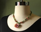 Beaded neckalces, rose pendant, vintage beads, green, pink, repurposed beads, french jewelry, FREE SHIPPING