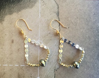 mixed metal earrings boho style yoga jewerly sterling silver  pyrite