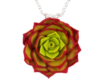 Red Succulent Necklace - Red Succulent Jewelry